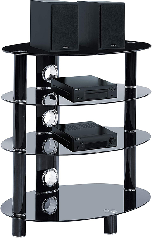 Centurion Supports HALIGON 4-Shelf Oval Premium Gloss Black Glass with Black Legs AV Rack