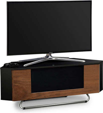 "Centurion Supports Hampshire Corner-Friendly Gloss Black & Walnut BeamThru Remote Friendly 26""-50"" TV Cabinet"
