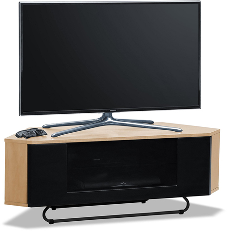 Centurion Supports Hampshire Corner-Friendly Real Wood Veneer Oak with Black Beam-Thru Door TV Cabinet