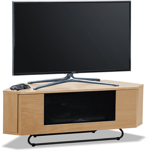Centurion Supports Hampshire Corner-Friendly Real Wood Veneer Oak with Oak Beam-Thru Door TV Cabinet