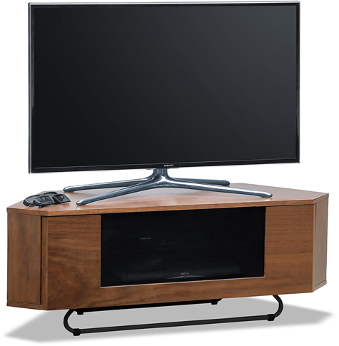 "Centurion Supports Hampshire Corner-Friendly Real Wood Veneer Walnut with Walnut Door 23""-50""TV Cabinet"