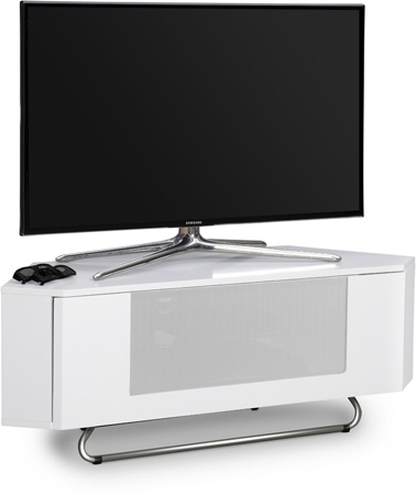 Centurion Supports Hampshire Corner-Friendly White with OptiWhite Beam-Thru Remote Friendly Door TV Cabinet