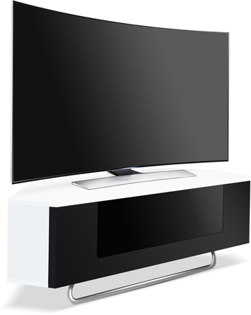 Centurion Supports Hampshire Corner-Friendly Gloss White with Black Door Beam-Thru Friendly Tv Cabinet-AS NEW