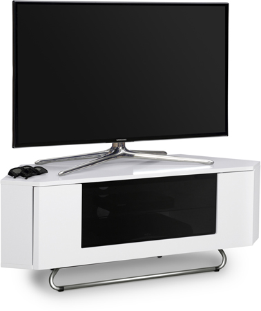 Centurion Supports Hampshire Corner-Friendly Gloss White Contrast Beam-Thru  Friendly Door TV Cabinet - AS NEW