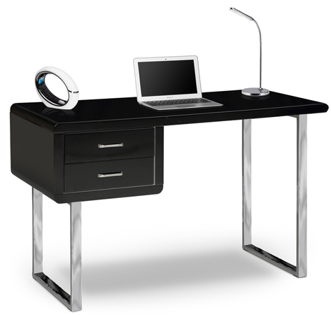 Centurion Supports HARMONIA Gloss Black Chrome Legs 2-Drawer Contemporary Home Office Luxury Computer Desk