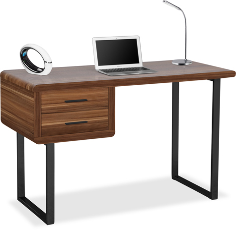 Centurion Supports HARMONIA Walnut 2-Drawer Contemporary Home Office Luxury Computer Desk