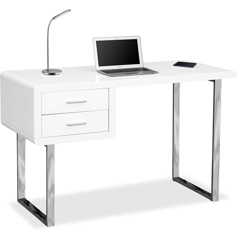 Centurion Supports HARMONIA White Ergonomic Home Office Desk with Built-In Wireless Qi Charging