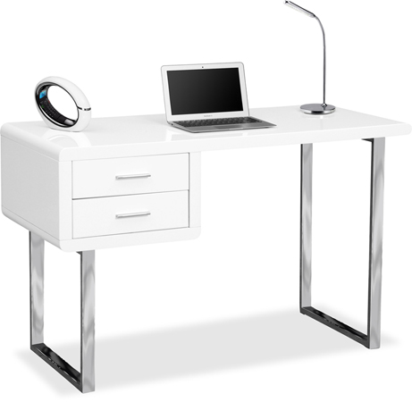 Centurion Supports HARMONIA Gloss White Chrome legs 2-Drawer Contemporary Home Office Luxury Computer Desk