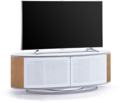 "MDA Designs LUNA Gloss White Oval Cabinet with Oak Profiles White BeamThru Glass Doors 52"" TV Cabinet"