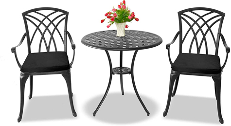Centurion Supports OSHOWA Luxurious 2 Large Chairs Cast Aluminium Black Bistro Set - Black Cushions
