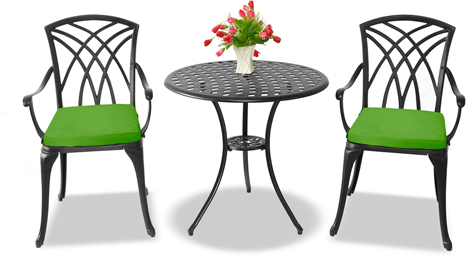 Centurion Supports OSHOWA Luxurious 2 Large Chairs Cast Aluminium Black Bistro Set - Green Cushions