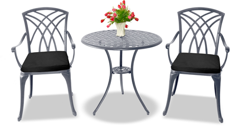 Centurion Supports OSHOWA Luxurious 2 Large Chairs Cast Aluminium Graphite Bistro Set - Black Cushions