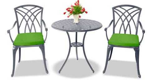 Centurion Supports OSHOWA Luxurious 2 Large Chairs Cast Aluminium Graphite Bistro Set - Green Cushions