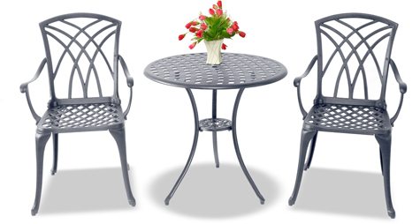 Centurion Supports OSHOWA Luxurious 2 Large Chairs with Armrests Cast Aluminium Graphite Bistro Set