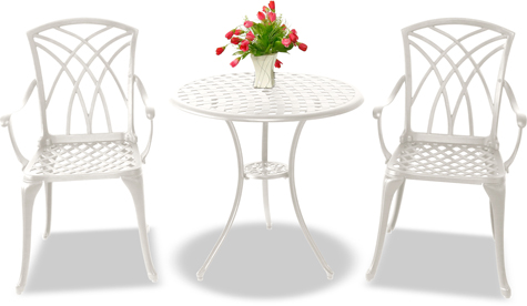 Centurion Supports OSHOWA Luxurious 2 Large Chairs with Armrests Cast Aluminium White Bistro Set