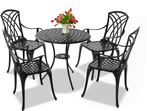Centurion Supports OSHOWA Luxurious Garden & Large Table & 4 Chairs with Armrests Cast Aluminium Bistro Set