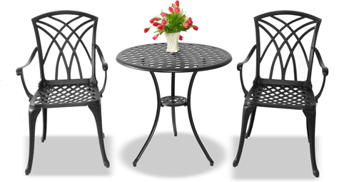 Centurion Supports OSHOWA Luxurious Garden & Large Table & 2 Chairs with Armrests Cast Aluminium Bistro Set