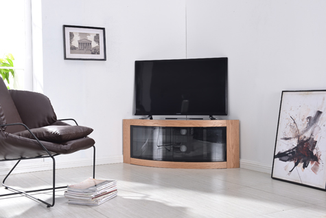 "Centurion Supports PANGEA Real Wood Oak Veneer Beam-Thru Curved Tru-Corner 32""-55"" TV Cabinet"