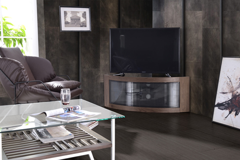 "Centurion Supports PANGEA Real Wood Walnut Veneer Beam-Thru Curved Tru-Corner 32""-55"" TV Cabinet - AS NEW"