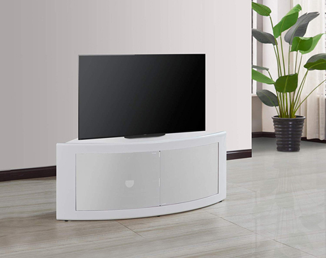 "Centurion Supports PANGEA Gloss White Beam-Thru Curved Tru-Corner 32""-55"" TV Cabinet"