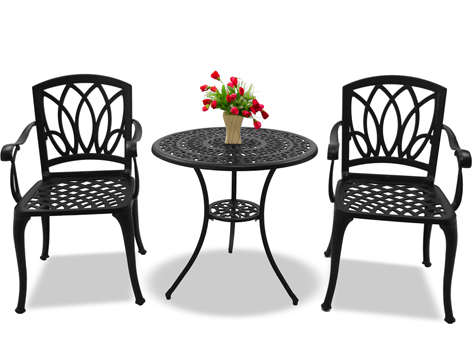 Centurion Support POSITANO Garden & Patio Table 2 Large Chairs with Armrests Cast Aluminium Bistro Set-Black