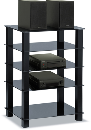 Centurion Supports TRINITY Gloss Black 5 Shelf with Black Legs Flat Screen TV Rack Glass Stand