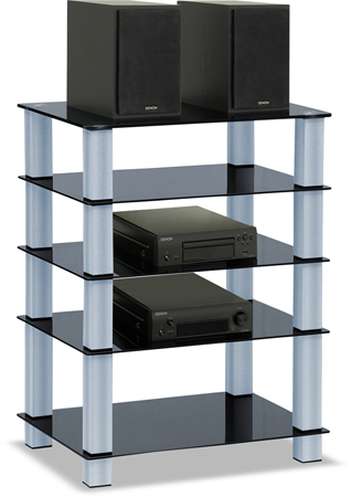 Centurion Supports TRINITY Gloss Black 5 Shelf with Silver Legs Flat Screen TV Rack Glass Stand