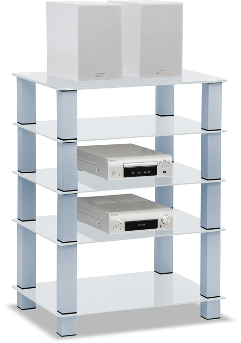 Centurion Supports TRINITY Gloss White 5 Shelf with Silver Legs Flat Screen TV Rack Glass Stand