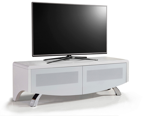 "MDA Designs WAVE 1200 White Hybrid BeamThru Remote-Friendly 32""-60"" Flat Screen Tv Cabinet"