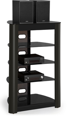 Centurion Supports Zinnia 5-Shelf Gloss Black with Gloss Black Wood Facia Flat Screen TV/ AV Rack Glass Stand