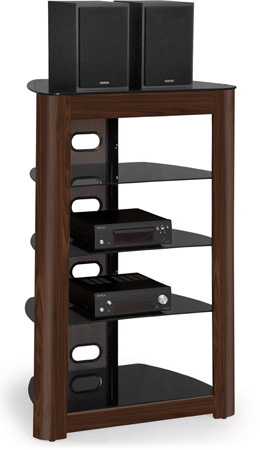 Centurion Supports Zinnia 5-Shelf Gloss Black with Rich Walnut Real Wood Veneer Fascia TV / Hi-Fi  Glass Stand