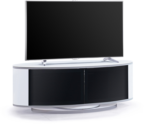 "MDA Designs LUNA Gloss White Oval Cabinet with Black BeamThru Glass Doors 52"" TV Cabinet"