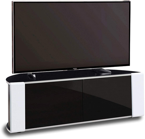 MDA Designs Sirius 1200 Remote Friendly Beam Thru Glass Door Gloss Black with White Front Profiles TV Cabinet