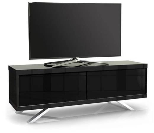 MDA Designs TUCANA 1200 HYBRID BLACK Remote-Friendly Gloss Black TV Cabinet