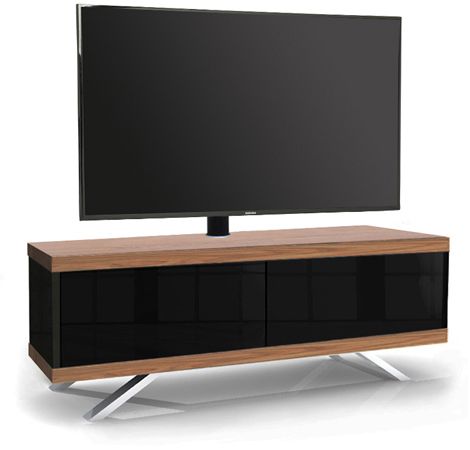 MDA Designs TUCANA 1200 HYBRID WALNUT COMPLETE Remote-Friendly Walnut Cantilever TV Cabinet