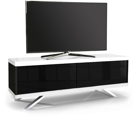 MDA Designs TUCANA 1200 HYBRID WHITE Remote-Friendly Gloss Black TV Cabinet