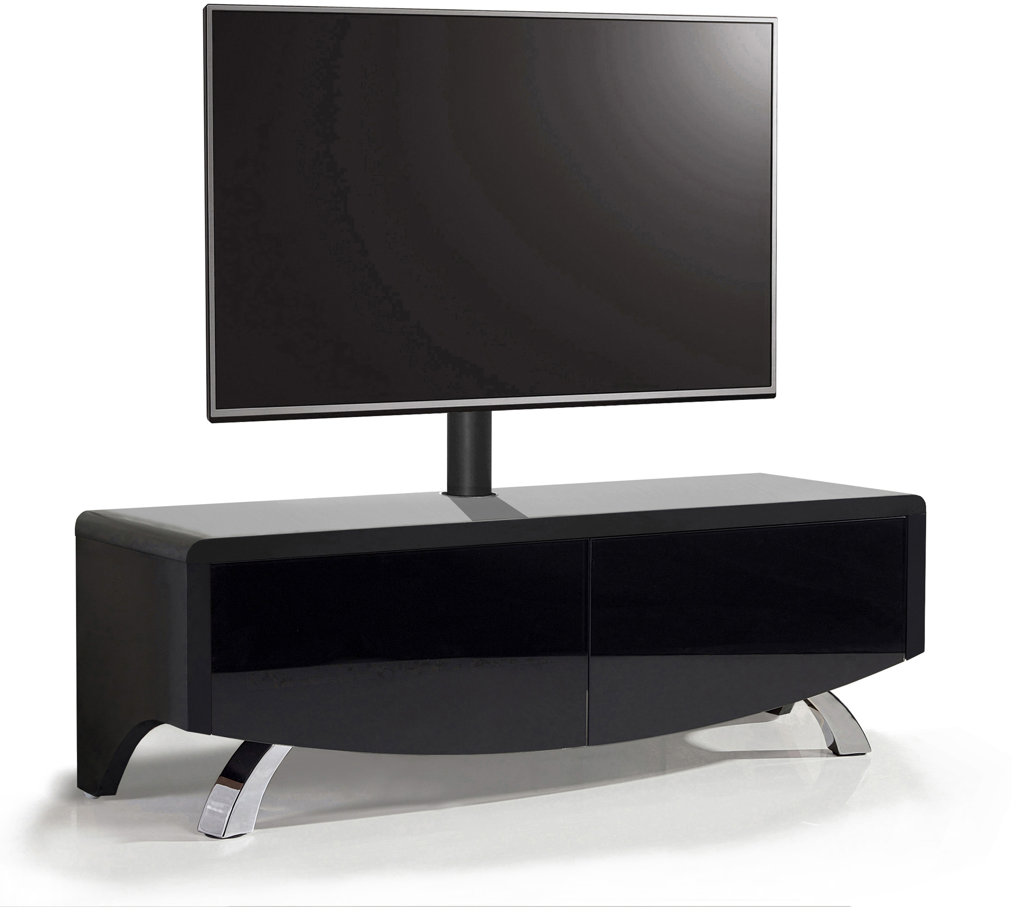 "MDA Designs WAVE 1200 Black Hybrid BeamThru Remote-Friendly 32""-60"" Flat TV Cabinet with Mounting Bracket"
