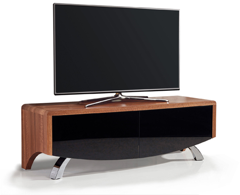 "MDA Designs WAVE 1200 Walnut Hybrid BeamThru Remote-Friendly 32""-60"" Flat Screen Tv Cabinet"